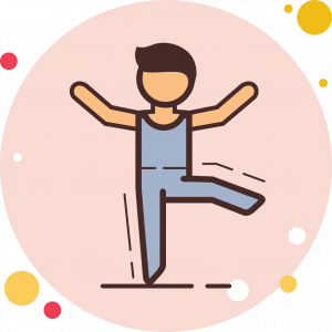 Animated Icon Showing a person trying to balance on one leg