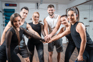 A group of happy people after a workout