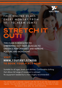 stretch it out class flyer run by North London female personal trainer